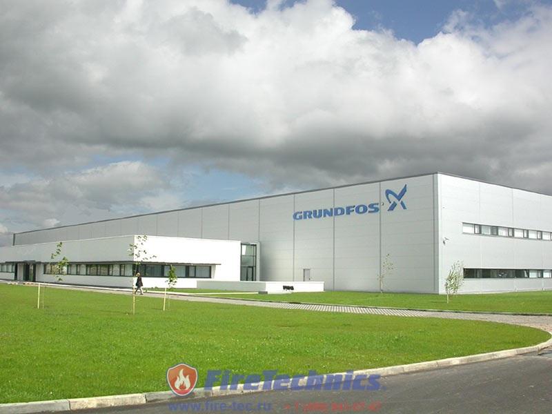 Противопожарные шторы FireTechnics EI120 на заводе Grundfos